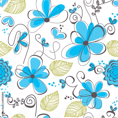 Deurstickers Abstract bloemen Floral seamless pattern