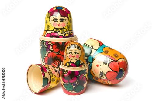 Photographie Babouchka russe ou matriochka poupées sur fond blanc