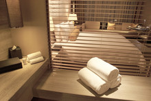 White Towels On Bathroom