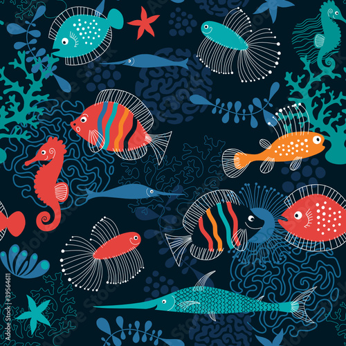 Recess Fitting Submarine seamless pattern with fishes