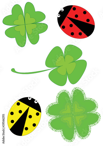 Poster Lieveheersbeestjes Clovers and Ladybugs