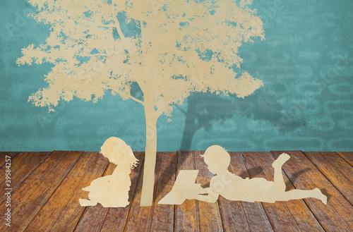 Paper cut of children read a book under tree Fototapet