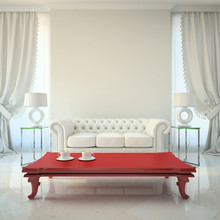 Modern Interior With Red Table