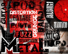 Rock Music Poster On Red Wall
