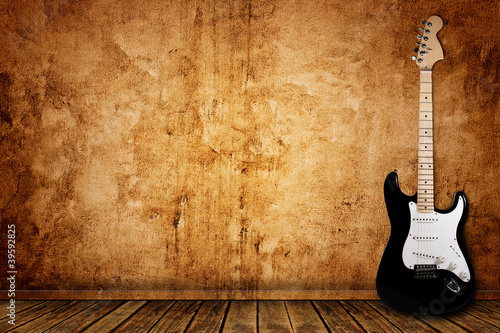 Obraz Electric guitar and the wall - fototapety do salonu