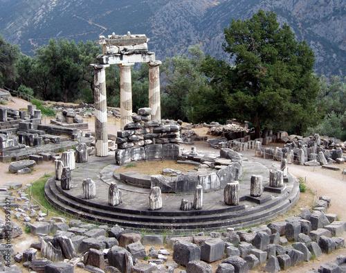 Photo Stands Ruins Delphi, Greece