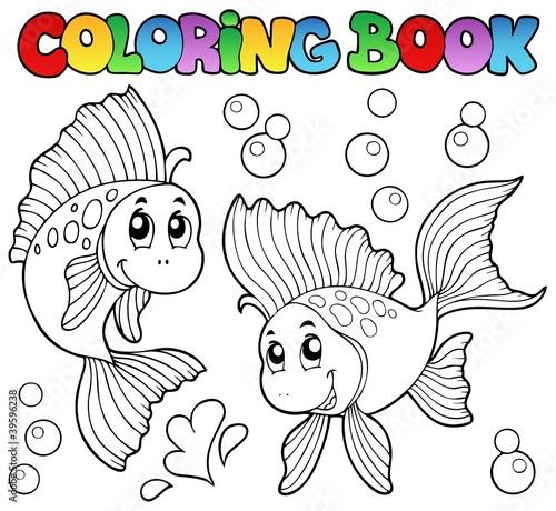 Spoed Foto op Canvas Doe het zelf Coloring book two cute goldfishes