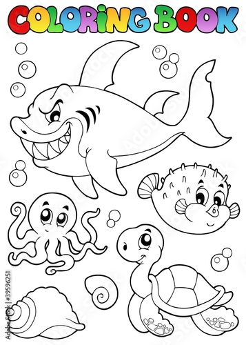 Spoed Foto op Canvas Doe het zelf Coloring book various sea animals 1