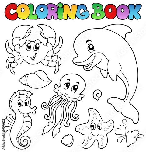Spoed Foto op Canvas Doe het zelf Coloring book various sea animals 2