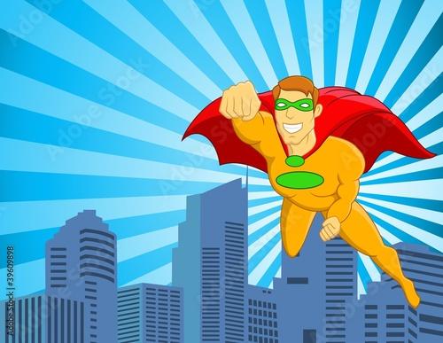 Poster Superheroes Superhero flying over city