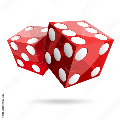 Photo  two red dice cubes on white background