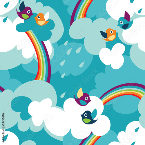 Poster Ciel Clouds and birds seamless pattern