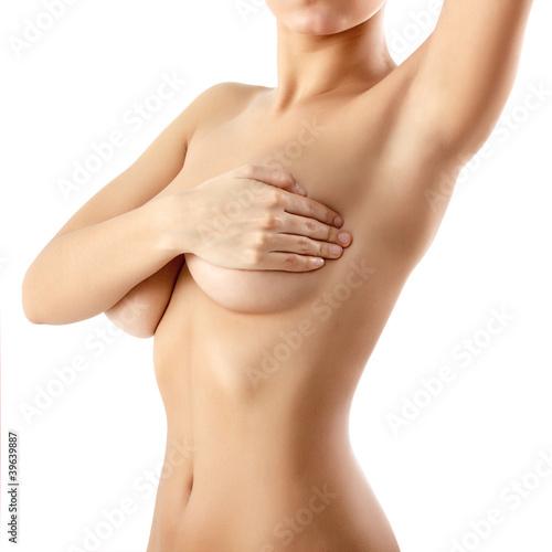 Obraz na plátne woman examining breast mastopathy or cancer