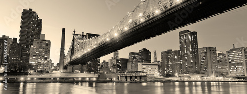 Foto op Aluminium Bruggen New York City night panorama