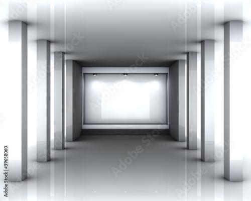 Naklejka na drzwi 3d empty niche with spotlights for exhibit in bright interior