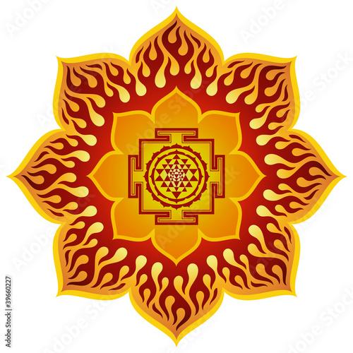 Fotografiet  Lotus Sri Yantra Design