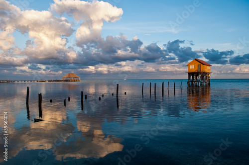 Home on the Ocean in Ambergris Caye Belize Wallpaper Mural