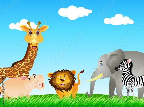 Poster de jardin Zoo funny animal collection