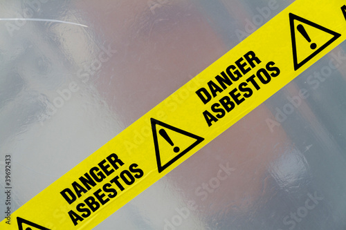 Asbestos warning sign Canvas Print