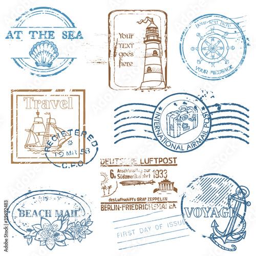 Fotografía  Vector Set of Retro SEA stamps - for design and scrapbook