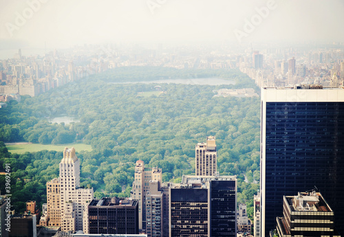 Canvastavla New York City Central Park in the fog