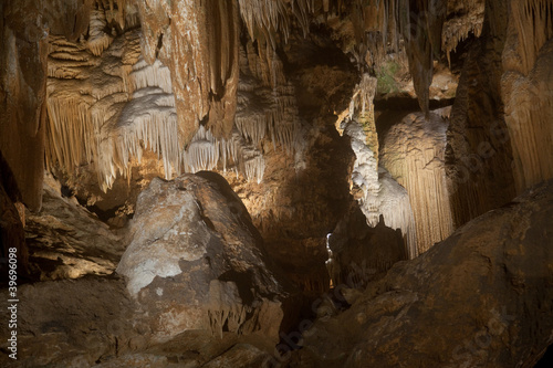 Cave, underground rock formations with stalagmite and stalctite