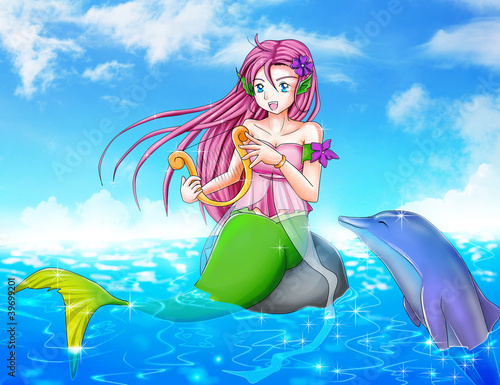 Poster Mermaid Cartoon illustration of a mermaid with a dolphin