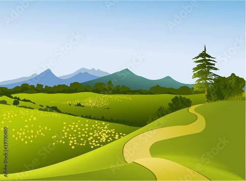 Fotobehang Zwavel geel Rural landscape with mountains