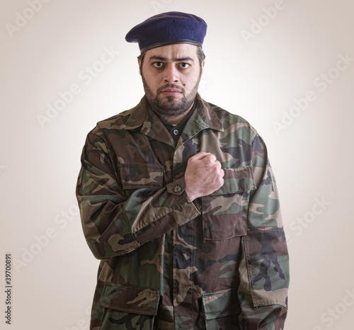 Photo  A soldier Honoring ready for sacrifice - clipping path included