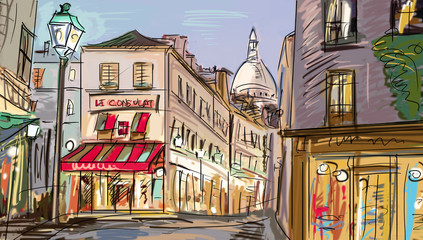 Obraz na Szkle Street in paris - illustration
