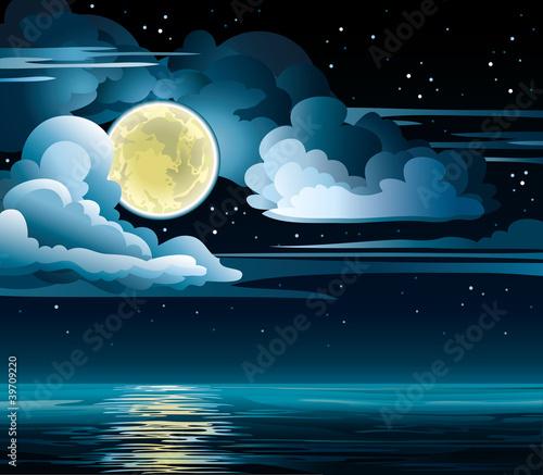 Papiers peints Ciel Moon and sea