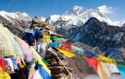 Wall Murals Nepal view of everest from gokyo ri with prayer flags