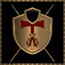 Decorative Background With Golden Shield And Spears
