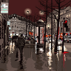 Panel Szklany Paryż Paris at night