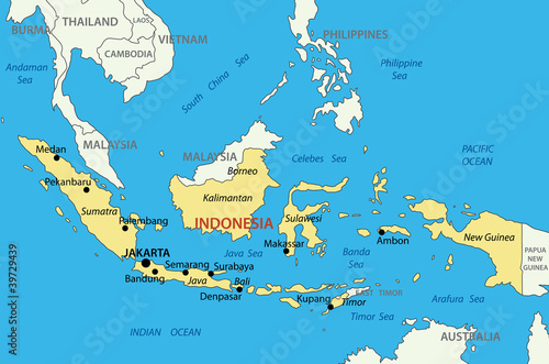 Fotografía Republic of Indonesia - vector map