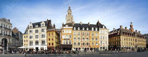 Beffroi et façades d'immeubles du centre ville de Lille Tablou Canvas