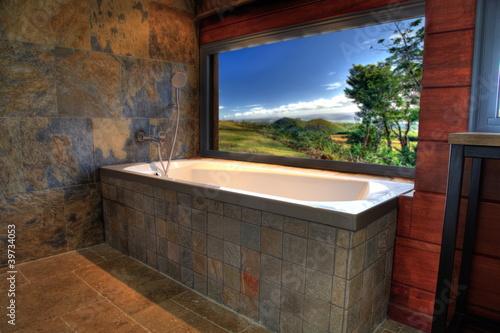 Fotografia Salle de bain design avec vue sur l'extérieur.