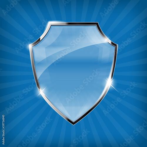 Fotografie, Obraz  Glossy security shield on blue background - vector