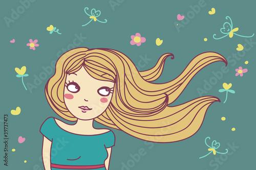 Photo  ragazza bionda col vento nei capelli