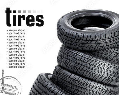 Fotografiet  Tires on the white background