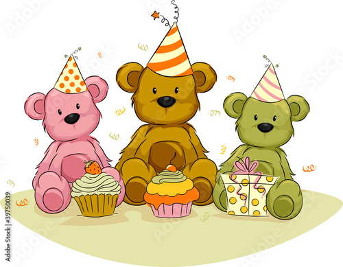 Photo sur Toile Ours Bear Birthday,