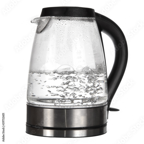 Tea kettle with boiling water isolated on white Fototapeta