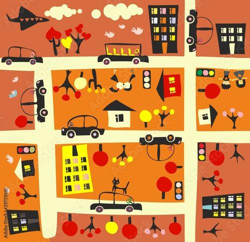 Poster de jardin Route seamless street in autumn