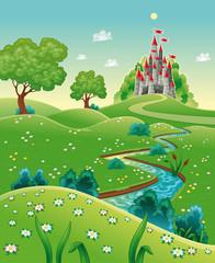 Panorama s dvorcem. Crtani film i vektorska ilustracija.