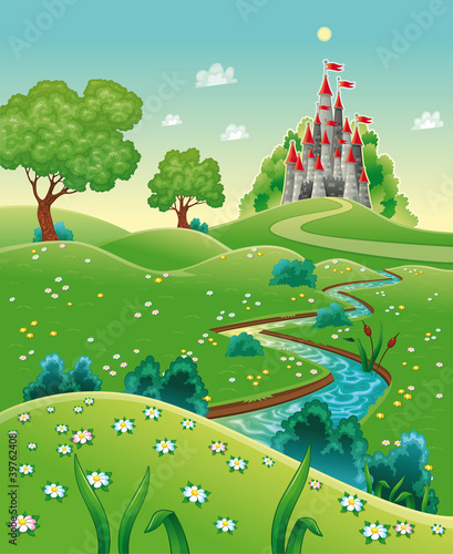 La pose en embrasure Chateau Panorama with castle. Cartoon and vector illustration.