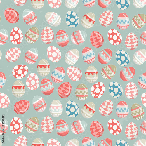 Cotton fabric Easter Eggs -  old Easter seamless background in vintage style