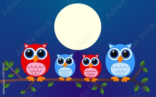 Deurstickers Uilen cartoon owl family