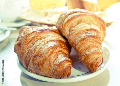 Photo Stands Coffee beans fresh croissant