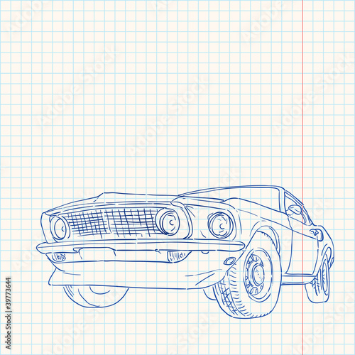 фотография  Muscle Car Illustration