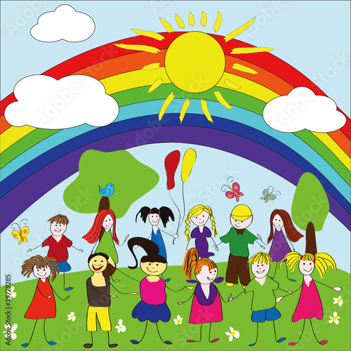 Photo Stands Rainbow Merry children background with rainbow